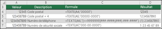 Formats spéciaux pour la fonction TEXTE