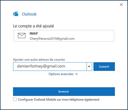 Sélectionnez terminé pour terminer la configuration de votre compte gmail.