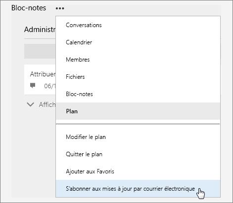 Liste Autres avec l'option S'abonner aux mises à jour par courrier électronique active