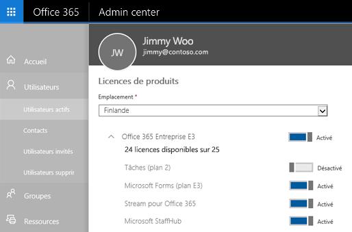 Capture d'écran de la page Licences de produits du Centre d'administration Office365 avec le bouton bascule en position désactivée pour les tâches (Plan 2).