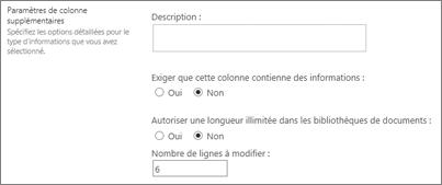 Texte multiligne colonne pour les bibliothèques de documents