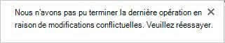 Message d'erreur concernant les modifications contradictoires apportées par deux utilisateurs ou plus dans un fichier Visio.