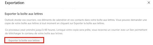 Capture d'écran illustrant l'option Exporter une boîte aux lettres