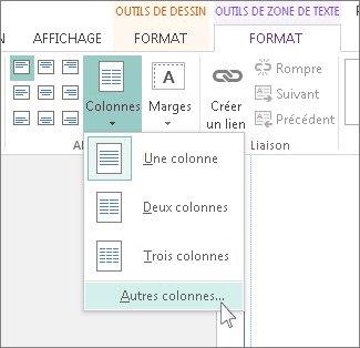 Outils de zone de texte Espacement entre les colonnes