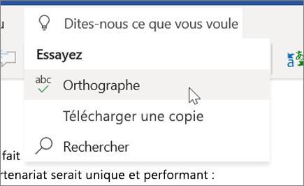 Fonctionnalité Rechercher de Word Online
