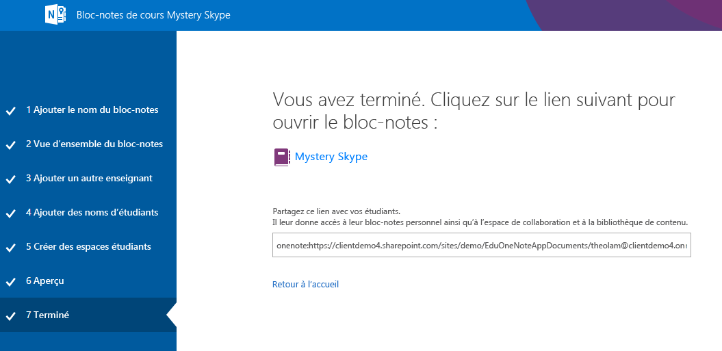 La configuration de Mystery Skype est terminée