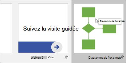 Sélectionnez diagramme de flux simple et choisissez le diagramme avec lequel vous voulez commencer.