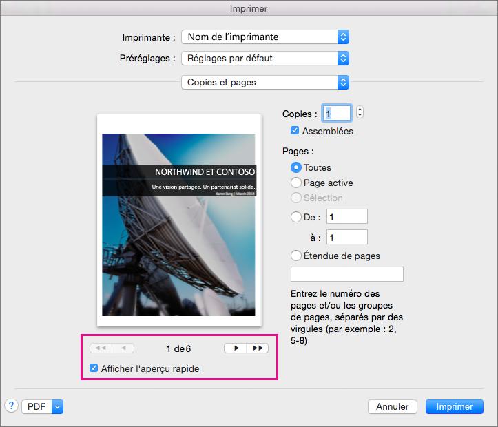 Sélectionnez Aperçu rapide et cliquez sur les flèches pour afficher un aperçu des pages de votre document.