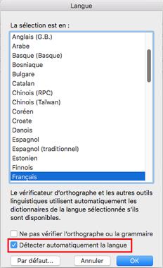 Paramètre Détecter automatiquement la langue dans Outlook2016 pour Mac