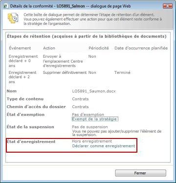 Affichage des détails de conformité d'un enregistrement