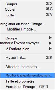 Excel 365-menu modifier le texte de remplacement pour les images