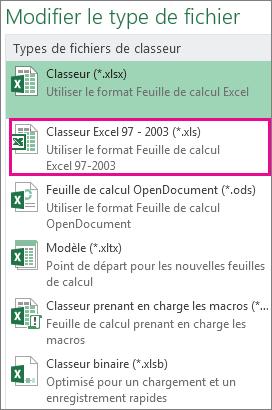 Format de classeur Excel97-2003