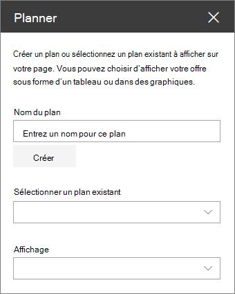 Boîte à outils du composant Planificateur web