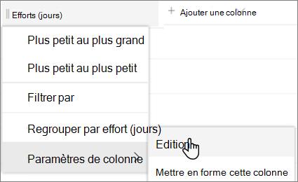 Volet modifier la colonne dans SharePoint avec l'option supprimer sélectionnée
