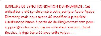Détails de l'erreur de synchronisation d'annuaires d'un utilisateur