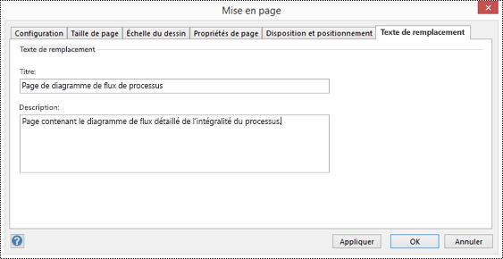 Boîte de dialogue Texte de remplacement d'une page dans Visio.