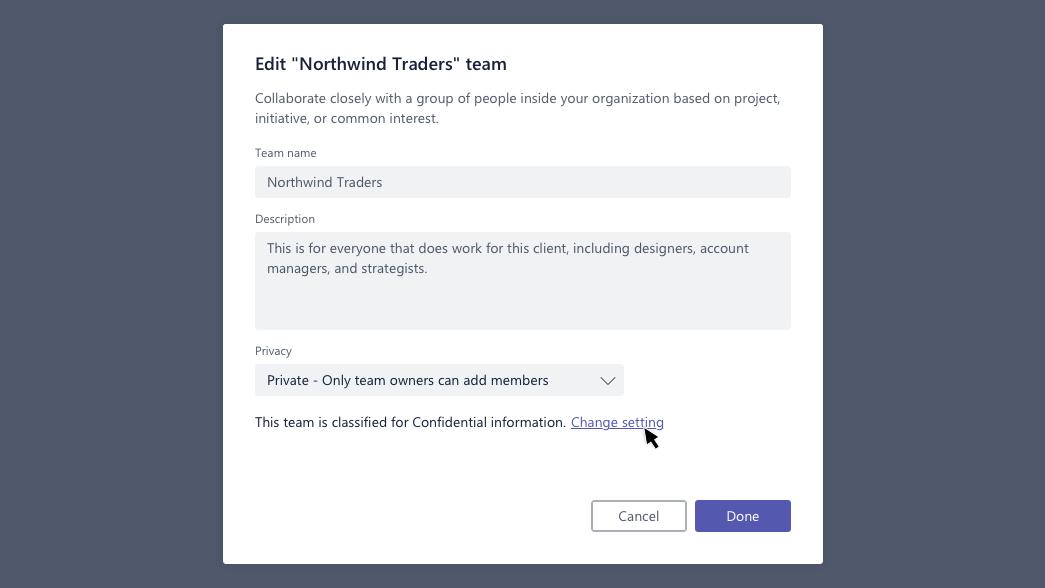 Modifier la boîte de dialogue d'équipe