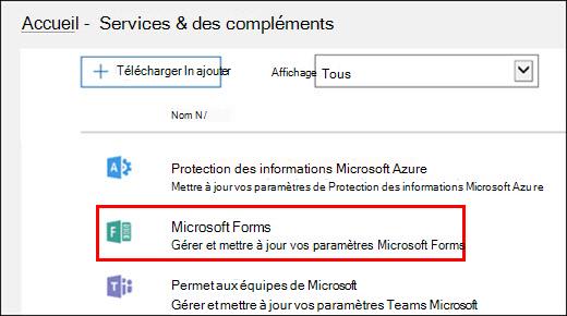 Paramètres d'administration de Microsoft Forms