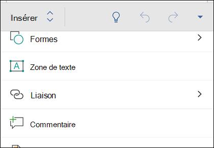 Le menu Insertion permet d'insérer des formes, des liens, commentaires et plus encore.