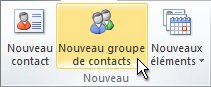 Commande Nouveau groupe de contacts sur le ruban