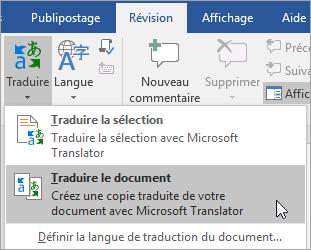 Affichant l'option traduire le Document sous l'onglet Révision