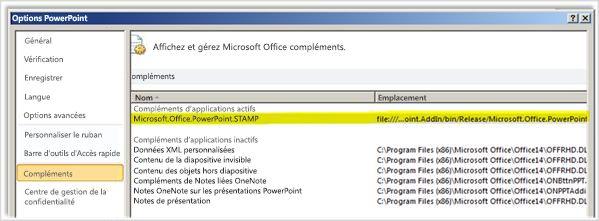 Options de PowerPoint, écran Compléments avec le complément STAMP mis en surbrillance