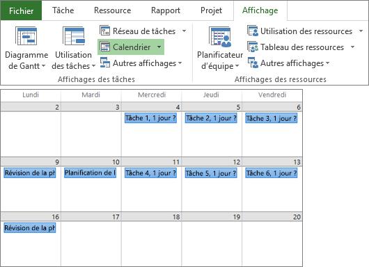 Capture d'écran composite des groupes Affichages des tâches et Affichages des ressources de l'onglet Affichage, et présentation d'un plan de projet dans l'affichage Calendrier.