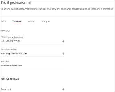 Capture d'écran: Page de coordonnées du profil d'entreprise: Ajouter vos coordonnées et vos sites de réseaux sociaux