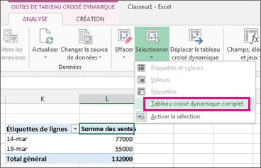 tableau croisé dynamique  Supprimer un tableau croisé dynamique - Excel