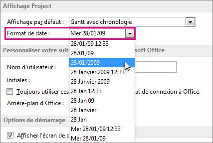 Liste Format de date dans la boîte de dialogue Options de Project