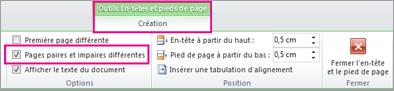 Activer la case à cocher Pages paires et impaires différentes
