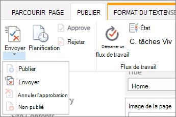 Envoyer, publier des boutons sous l'onglet Publier en mode édition.