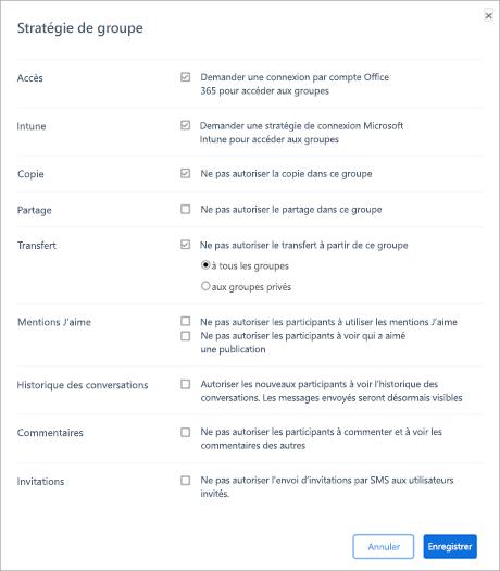 Section Stratégie de groupe du portail de gestion Kaizala