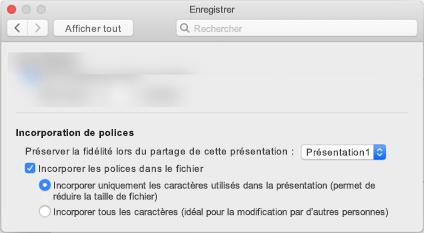 Utiliser les préférences > de PowerPoint pour activer l'incorporation de polices pour votre fichier