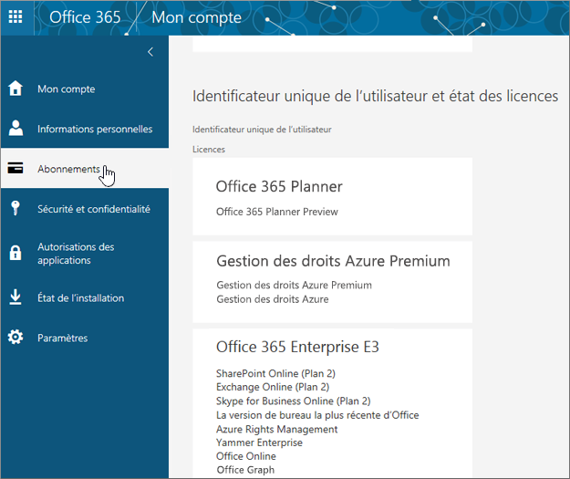 Page Abonnements Office 365