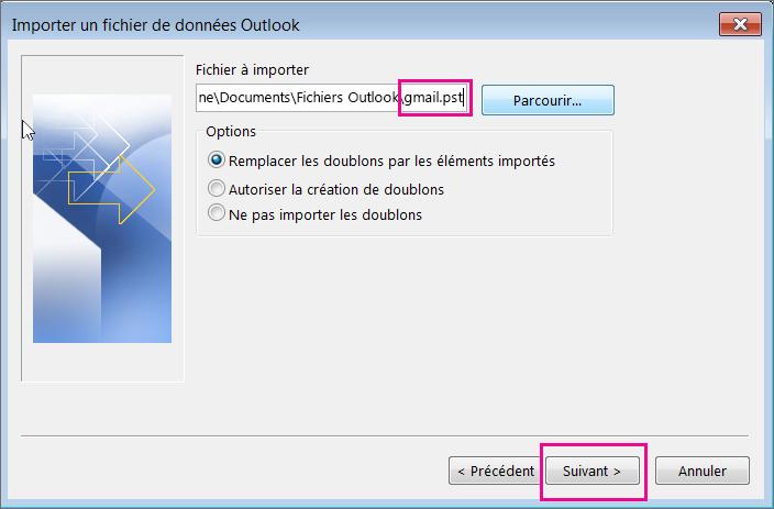 Sélectionnez le fichier .pst que vous avez créé afin de pouvoir l'importer.