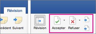 Sous l'onglet Révision, les options Accepter, Refuser et Suivant sont mises en évidence