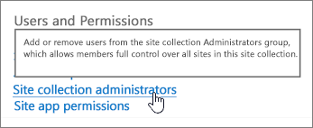 Administrateurs de collections de site mise en évidence sous utilisateurs et autorisations
