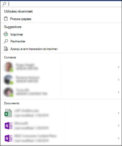 Zone Recherche Microsoft sélectionnée