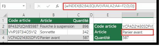 Si vous utilisez les fonctions INDEX et EQUIV avec une valeur de recherche supérieure à 255 caractères, une formule matricielle doit être créée.  La formule de la cellule F3 est =INDEX(B2:B4,EQUIV(VRAI,A2:A4=F2,0),0); elle est entrée en appuyant sur Ctrl+Maj+Entrée.