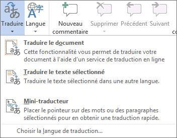 Outils de traduction disponibles dans les programmes Office
