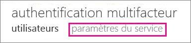 Paramètres de service de l'authentification multifacteur