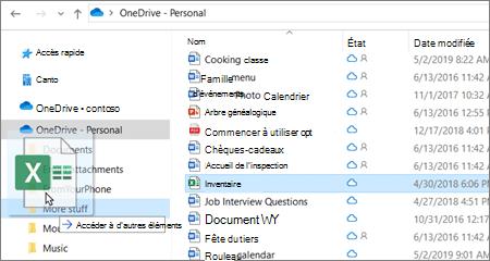 Capture d'écran du déplacement d'un fichier vers un autre dossier dans OneDrive