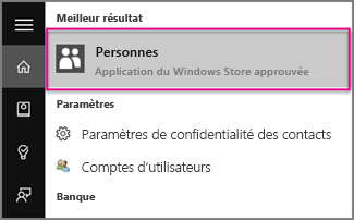 Entrer des contacts dans Windows 10