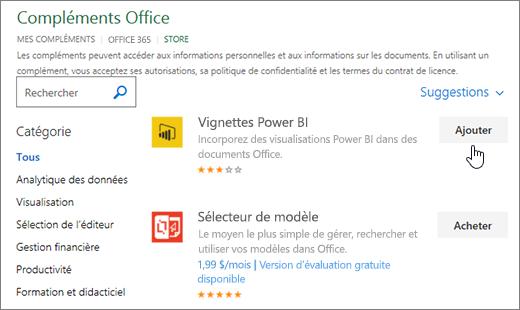 Capture d'écran de la page des compléments Office où vous pouvez sélectionner ou rechercher un complément pour Excel.