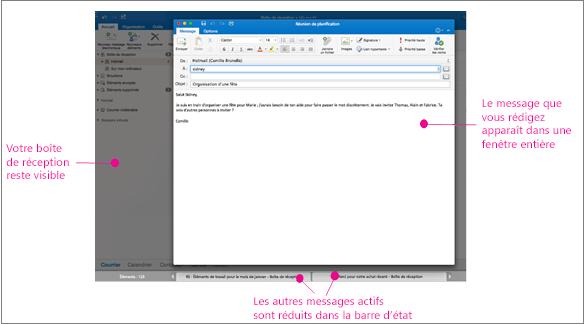 mode Plein écran avec le message actif, la boîte de réception et les onglets dans la zone de notification au bas de l'écran