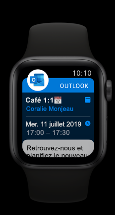 Apple Watch montrant le rendez-vous du calendrier à venir Outlook