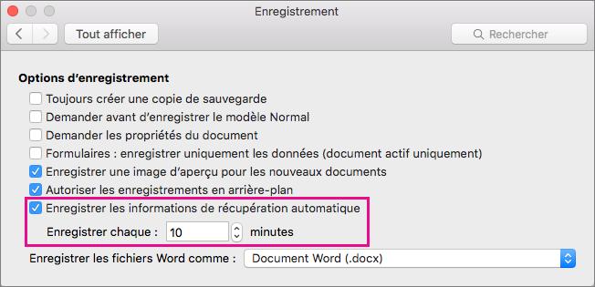Dans la boîte de dialogue Enregistrer, sélectionnez Enregistrer les informations de récupération automatique, puis définissez l'intervalle en spécifiant les minutes dans la zone Enregistrer automatiquement toutes les.