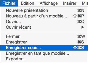 Affiche le fichier > Enregistrer en tant que Menu dans PowerPoint 2016 pour Mac.