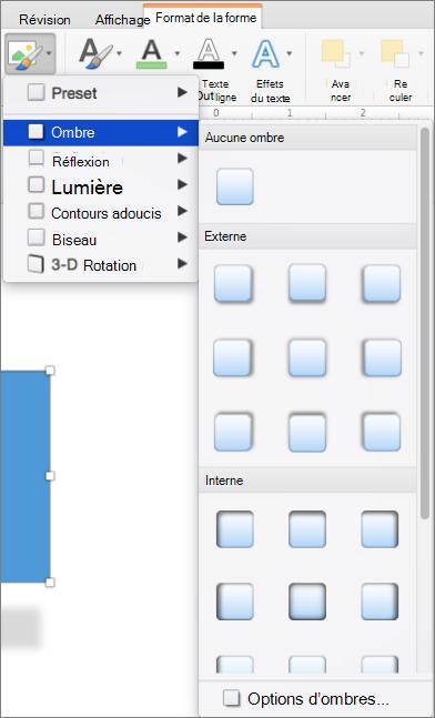 Options d'ombre dans le menu Effets sur la forme